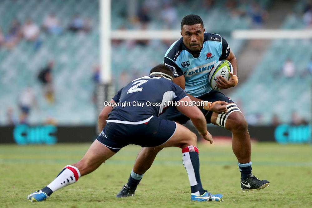 Wycliff Palu runs at James Hanson. Waratahs v Rebels, Super Rugby Round 6. Played at Allianz Stadium, Sydney Australia on Sunday 3 April 2016. Copyright Photo: Clay Cross / photosport.nz