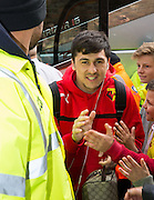 Watford Fernando Forestieri getting off club coach during the Sky Bet Championship match between Watford and Sheffield Wednesday at Vicarage Road, Watford, England on 2 May 2015. Photo by Phil Duncan.