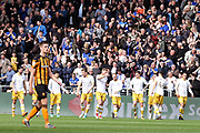 Sheffield Wednesday forward Jordan Rhodes (7) scores a goal 0-1 and celebrates in front of the Sheffield Wednesday supporters during the EFL Sky Bet Championship match between Hull City and Sheffield Wednesday at the KCOM Stadium, Kingston upon Hull, England on 14 April 2018. Picture by Mick Atkins.
