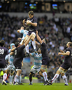 Twickenham, GREAT BRITAIN, Louis DEACON collects the line out ball, during the Investic Challenge Series, England vs Argentina, Autumn International at Twickenham Stadium, Surrey on Sat 14.11.2009 [Photo, Peter Spurrier/Intersport-images]