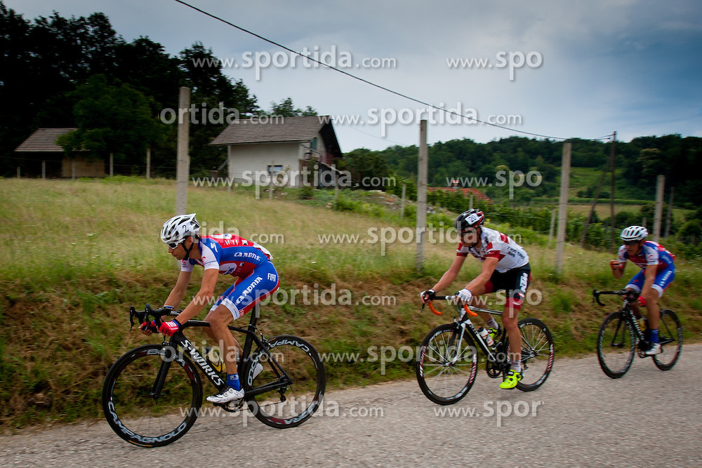 Matej Mugerli of Adria Mobil and Jure Golcer of Tyrol Cycling Team during Slovenian National Championship in Road Cycling, on June 23, 2013, in Gabrje, Slovenia. (Photo by Urban Urbanc / Sportida.com)