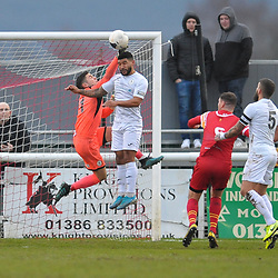 TELFORD COPYRIGHT MIKE SHERIDAN Ellis Deeney of Telford and Matt Yates of Telford (on loan from Derby County) battle to clear during the Vanarama Conference North fixture between AFC Telford United and Gloucester City at Jubilee Stadium, Evesham on Saturday, December 28, 2019.<br /> <br /> Picture credit: Mike Sheridan/Ultrapress<br /> <br /> MS201920-037