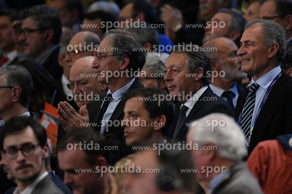 Denis Masseglia (CNOSF) and Thierry Braillard during 25th IHF men's world championship 2017 match between France and Slovenia at Accord hotel Arena on january 26 2017 in Paris. France. PHOTO: CHRISTOPHE SAIDI / SIPA / Sportida