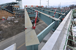Track Overpass Bridge beams over roadway. Construction Progress Railroad Station Fairfield Metro Center - Site visit 19 of once per month periodic photography