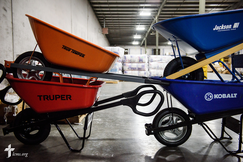 Stacked wheelbarrows at a warehouse in Tomball, Texas, which serves as a collection point for LCMS congregations with the main users being Salem Lutheran Church, Tomball, Texas, and Trinity Klein Lutheran Church, Spring, Texas, on  Thursday, Feb. 8, 2018, in Tomball. Recovery work is still underway almost six months after Hurricane Harvey devastated parts of Texas.  LCMS Communications/Erik M. Lunsford