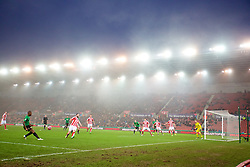 STOKE-ON-TRENT, ENGLAND - Sunday, January 4, 2015: Freezing fog descends as Wrexham attack against Stoke City during the FA Cup 3rd Round match at the Britannia Stadium. (Pic by David Rawcliffe/Propaganda)