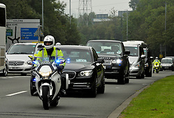 © Licensed to London News Pictures. 04/09/2014. Bristol, UK.  Police escort visiting heads of state and officials to the entrance to Celtic Manor at the NATO summit being held at The Celtic Manor resort at Newport. Photo credit : Simon Chapman/LNP