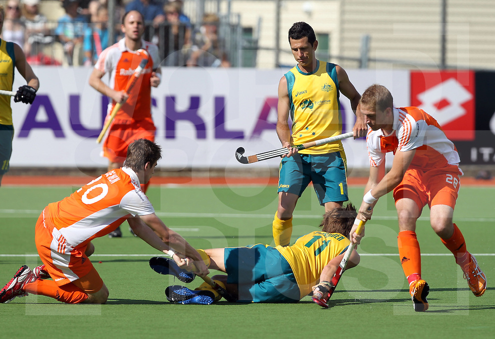 Champions Trophy, New Zealand 2011.8/12/2011 Day 4 Netherlands v Australia.eddie Okenden get the treatment from the Netherlands