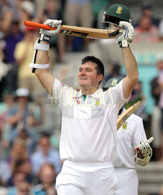 © Andrew Fosker / Seconds Left Images 2012 - South Africa's Graeme Smith celebrates his hundredth hundred , 100, century - England v South Africa - 1st Investec Test Match -  Day 3 - The Oval  - London - 21/07/2012
