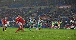CARDIFF, WALES - Thursday, March 24, 2016: Wales' Simon Church scores a late equalising goal from the penalty spot against Northern Ireland to seal a 1-1 draw during the International Friendly match at the Cardiff City Stadium. (Pic by Paul Greenwood/Propaganda)