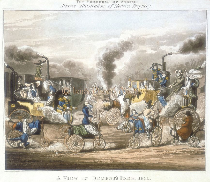 The Progress of Steam. A View in Regent's Park, 1831'.  Steam-powered coaches, horses, tricycles, including one with body like a teapot, are speeding along or blowing up and causing traffic chaos in Regent's Park, London. Aquatint after Henry Alken.