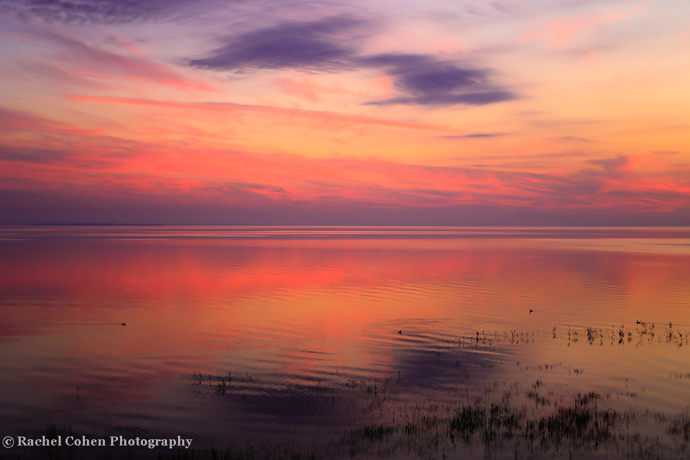 &quot;A Touch of Morning&quot;<br /> <br /> Colorful sunrise and reflections on Lake Huron!!<br /> <br /> Sunrise Images by Rachel Cohen