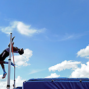 Kris Wilson/News Tribune<br /> Grandview's Harvey Kendall bends back to clear the bar at 6-8 while going toe-to-toe with Southern Boone's Landon Bartel for the state title in the Class 3 boys high jump during the MSHSAA Track and Field Championships at Lincoln University's Dwight T. Reed Stadium. Bartel would go on to claim the title after clearing 7-0 to tie the class record.