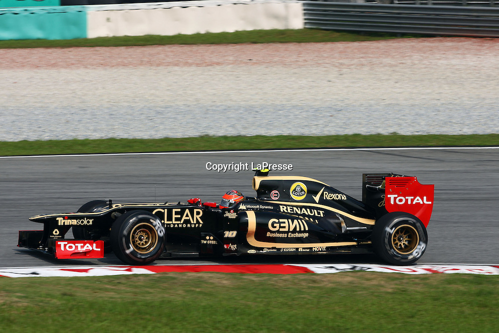 &copy; Photo4 / LaPresse<br /> 23/3/2012 Sepang<br /> Malaysian Grand Prix, Sepang 2012<br /> In the pic: Romain Grosjean (SUI) Lotus F1 Team E20