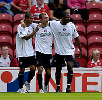 Fotball<br /> England 2005/2006<br /> Foto: SBI/Digitalsport<br /> NORWAY ONLY<br /> <br /> FA Barclays Premiership<br /> Middlesbrough v Charlton<br /> 28/08/2005.<br /> <br /> Charlton's Dennis Rommedahl (C) celebrates his goal.