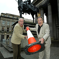 Comedians Cannon and Ball outside the Gallery of Modern Art as part of the Magners Comedy Festival. Bobby Ball (darker hair and moustache) and Tommy Cannon (grey hair).