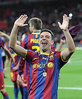 FUSSBALL      CHAMPIONSLEAGUE  FINALE     SAISON 2010/2011  28.05.2011 FC Barcelona - Manchester United FC  Champions League Sieger 2011:  FC Barcelona  feiert den Sieg Jubel Xavi Hernandez (Barca)