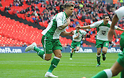 Ryan Kendal turns to celebrate his goal during the FA Carlsberg Trophy Final match between North Ferriby United and Wrexham FC at Eon Visual Media Stadium, North Ferriby, United Kingdom on 29 March 2015. Photo by Michael Hulf.