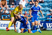 Wycombe Wanderers defender Jack Grimmer (19) and Gillingham FC forward Mikael Mandron (9) during the EFL Sky Bet League 1 match between Gillingham and Wycombe Wanderers at the MEMS Priestfield Stadium, Gillingham, England on 14 September 2019.
