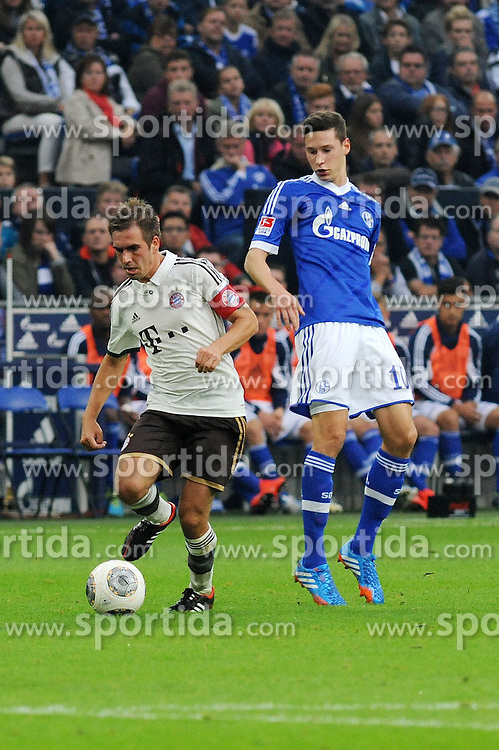 21.09.2013, Veltins Arena, Gelsenkirchen, GER, 1. FBL, Schalke 04 vs FC Bayern Muenchen, 6. Runde, im Bild Julian Draxler ( rechts Schalke 04 ) im Zweikampf mit Philipp Lahm ( links FC Bayern Muenchen/ Action/ Aktion ) // during the German Bundesliga 6th round match between Schalke 04 and FC Bayern Munich at the Veltins Arena, Gelsenkirchen, Germany on 2013/09/21. EXPA Pictures &copy; 2013, PhotoCredit: EXPA/ Eibner/ Thomas Thienel<br /> <br /> ***** ATTENTION - OUT OF GER *****