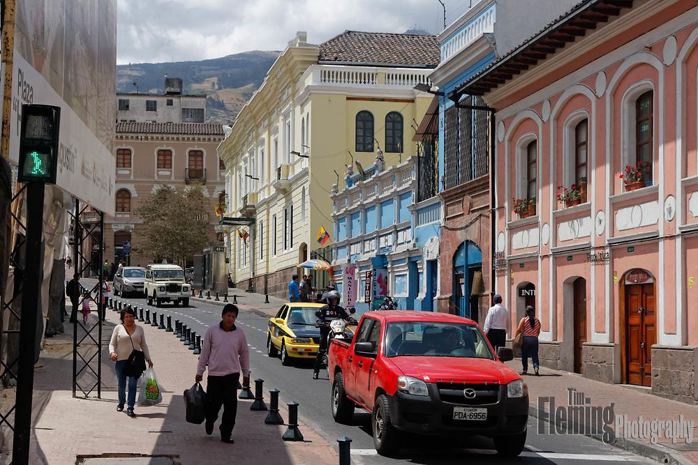 City street in Old Town, Quito, Ecuador