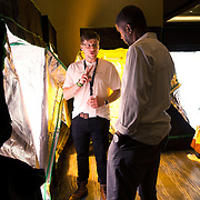 Washington, DC - AUG20: Ryan Kee (left), the owner of Smart Garden, explains home grow closets to a potential customer, at the DC Hydroponics area at The B.U.D. Summit, the Business, Understanding, & Development Summit. The BUD Summit is poised to capture and accelerate the explosion of cannabis culture, business, and investment that has occurred in Washington, D.C. since the passing of initiative 71 in 2015. Photo by Evelyn Hockstein