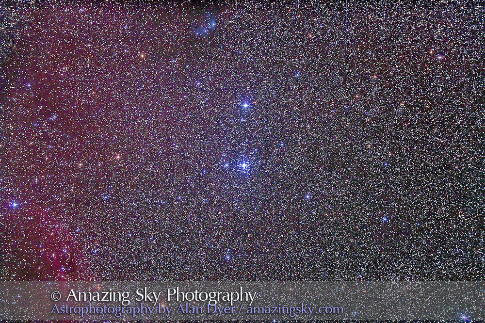 The Tau Canis Majoris cluster, NGC 2362, in Canis Major. Loose cluster at lower right is NGC 2354. This is a stack of 4 x 8 minute exposures at ISO 1000 with the Canon 5D MkII and Astro-Physics Traveler 105mm apo refractor at f/5.8 with the 6x7 field flattener. Taken from Timor Cottage, Coonabarabran, Australia, December 18/19, 2012.