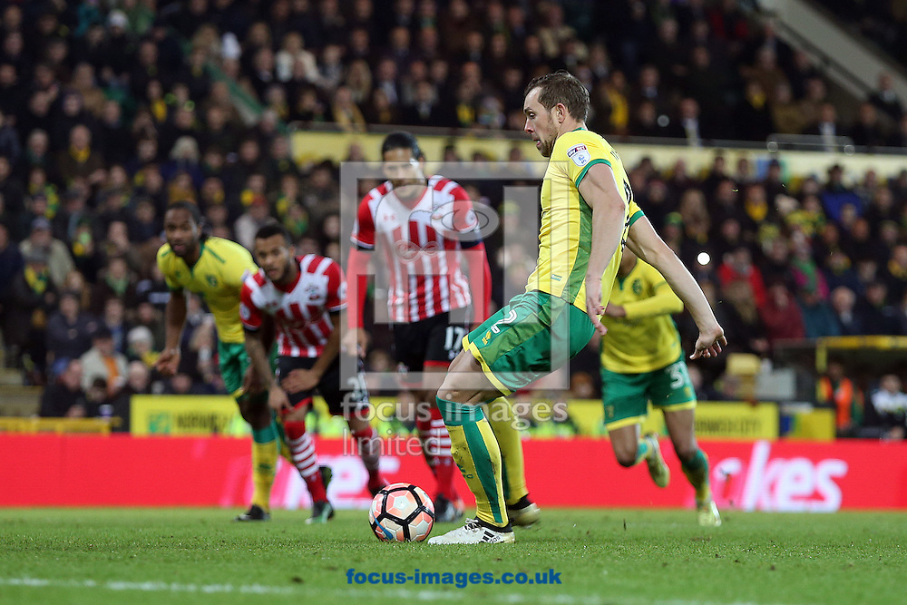Steven Whittaker of Norwich scores his sides equalising goal from the penalty spot during the third round of the FA Cup at Carrow Road, Norwich<br /> Picture by Paul Chesterton/Focus Images Ltd +44 7904 640267<br /> 07/01/2017