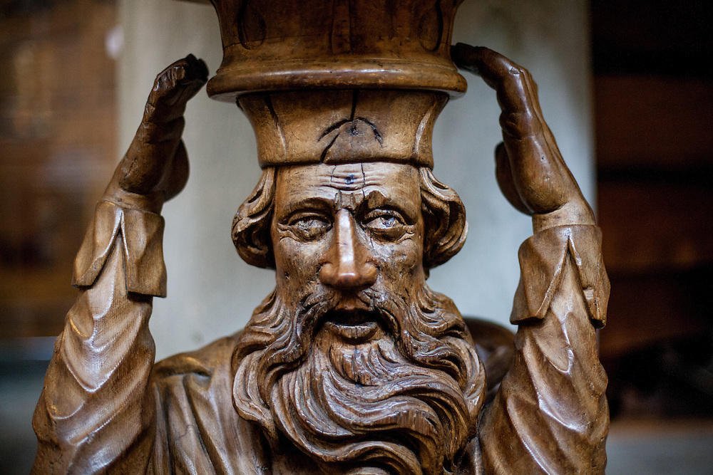 A wooden sculpture of Abraham at the Constance Minster (Konstanzer Münster). In the 18th century many people thought that the beard man is Jan Hus and they atatcked the sculpture with nails and other items. The condemnation of Jan Hus took place on 6 July 1415, in the presence of the assembly of the Council in the Cathedral (Minster). After the High Mass and Liturgy, Hus was led into the church. The Bishop of Lodi delivered an oration on the duty of eradicating heresy; then some theses of Hus and Wycliffe and a report of his trial were read.