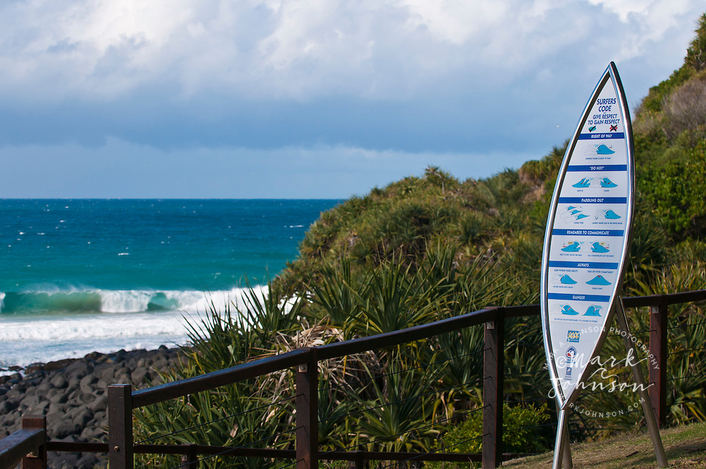 Surf etiquette sign, Burleigh Heads, Queensland, Australia