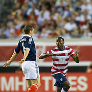 May 26 2012: USA's Maurice Edu (7) watches the ball after Scotland's James McArthur (6) heads the ball during the first half of play of the U.S. Men's National Soccer Team game against Scotland at Everbank Field in Jacksonville, FL. At halftime USA lead Scotland 2-1.