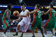 SO Poland athlete Dawid Rudewicz in action during basketball match between SO Poland and SO Portugal while basketball tournament during fifth day of the Special Olympics World Games Los Angeles 2015 on July 29, 2015 at Galen Centre University of Southern California in Los Angeles, USA.<br /> <br /> USA, Los Angeles, July 29, 2015<br /> <br /> Picture also available in RAW (NEF) or TIFF format on special request.<br /> <br /> For editorial use only. Any commercial or promotional use requires permission.<br /> <br /> Adam Nurkiewicz declares that he has no rights to the image of people at the photographs of his authorship.<br /> <br /> Mandatory credit:<br /> Photo by © Adam Nurkiewicz / Mediasport