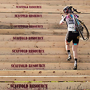 "Ellen Noble of Rapha Aspire Racing climbs the ""Stairway To Hell"" at Charm City Cross at Druids Hill Park in Baltimore, MD on her way to a second place finish at the UCI C2 race on October 7, 2017."