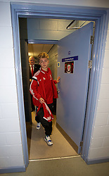 BALLYMENA, NORTHERN IRELAND - Thursday, November 20, 2014: Wales' Keiron Proctor leaves the dressing room after beating Northern Ireland 2-0 during the Under-16's Victory Shield International match at the Ballymena Showgrounds. (Pic by David Rawcliffe/Propaganda)