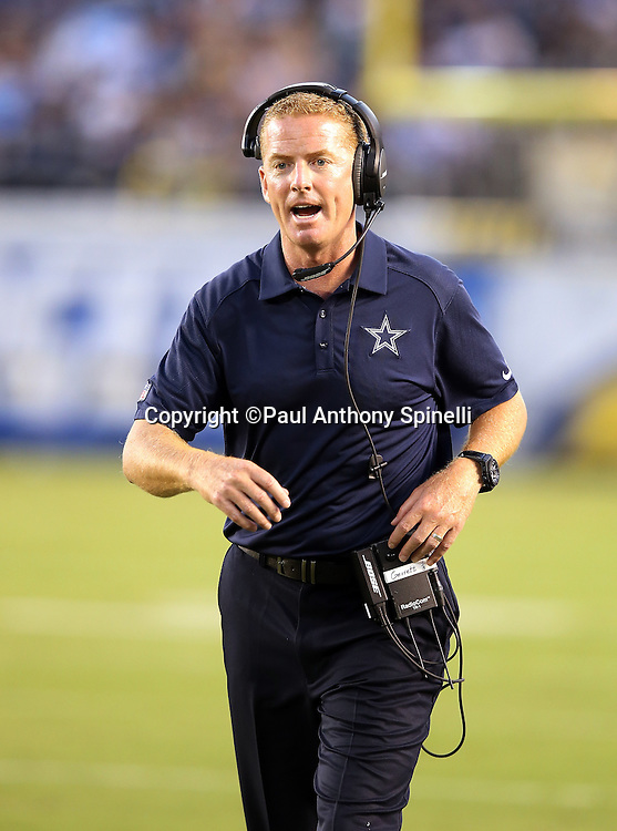 Dallas Cowboys head coach Jason Garrett yells out from the sideline during the 2015 NFL preseason football game against the San Diego Chargers on Thursday, Aug. 13, 2015 in San Diego. The Chargers won the game 17-7. (©Paul Anthony Spinelli)