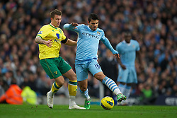 03.12.2011, City of Manchester Stadium, Manchester, ENG, PL, Manchester City vs Norwich City, 14. Spieltag, im Bild Manchester City's Sergio Aguero in action against Norwich City's // during the football match of english Premier League, 14th round between Manchester City vs Norwich City at City of Manchester stadium, Manchester, ENG on 2011/12/03. EXPA Pictures © 2011, PhotoCredit: EXPA/ Sportida/ David Rawcliff..***** ATTENTION - OUT OF ENG, GBR, UK *****