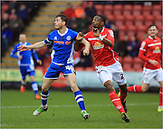 Ian Henderson, Semi Ajayi during the Sky Bet League 1 match between Crewe Alexandra and Rochdale at Alexandra Stadium, Crewe, England on 6 February 2016. Photo by Daniel Youngs.