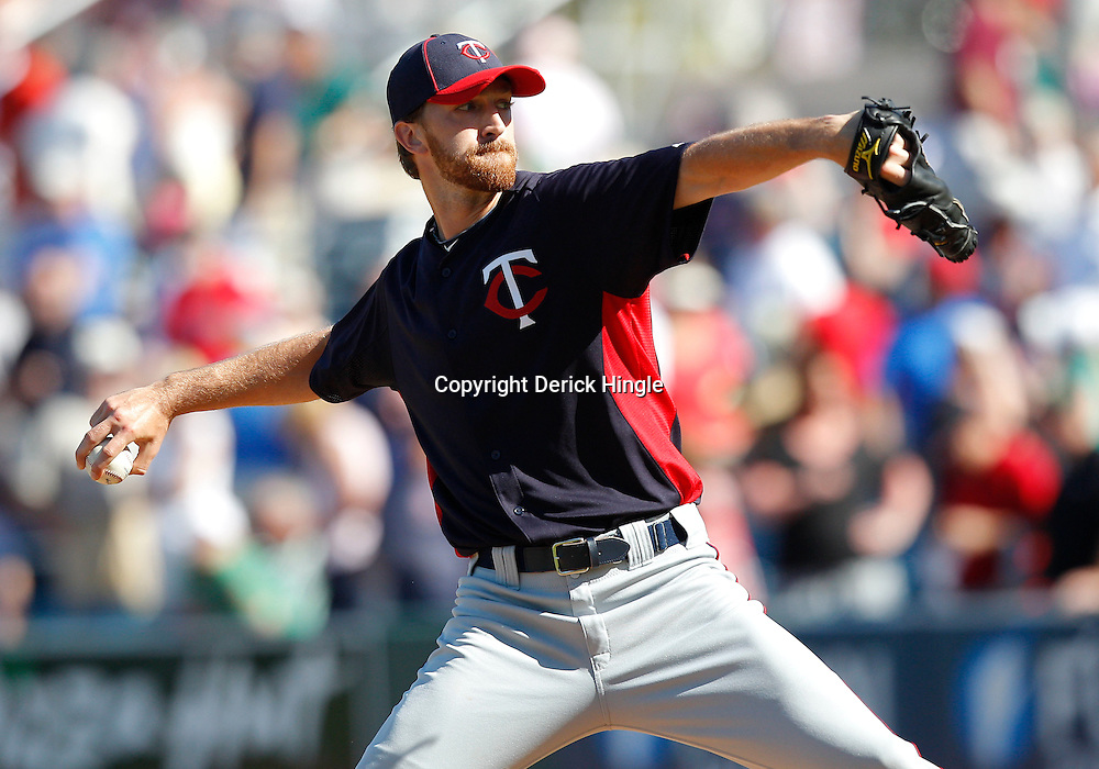 February 28, 2011; Fort Myers, FL, USA; Minnesota Twins relief pitcher Jim Hoey (37) during a spring training exhibition game against the Boston Red Sox at City of Palms Park.  Mandatory Credit: Derick E. Hingle