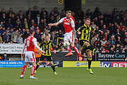 Fleetwood Town defender Marcus Nilsson wins the battle in the air for the ball during the Sky Bet League 1 match between Burton Albion and Fleetwood Town at the Pirelli Stadium, Burton upon Trent, England on 12 March 2016. Photo by Aaron  Lupton.