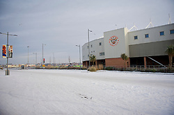 BLACKPOOL, ENGLAND - Sunday, December 26, 2010: The car park outside Blackpool's Bloomfield Road stadium is covered in snow, pictured as the Boxing Day Premiership clash with Liverpool FC is called off due to a frozen pitch. (Pic by: David Rawcliffe/Propaganda)