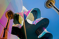 Experience Music Project building and Space Needle in Seattle Center