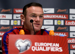 Wayne Rooney of England takes questions during the Press Conference ahead of the World Cup Qualifier against Slovenia - Mandatory by-line: Robbie Stephenson/JMP - 10/10/2016 - FOOTBALL - SRC Stozice - Ljubljana, England - England Press Conference