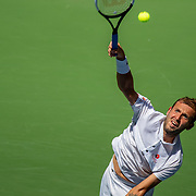 2019 US Open Tennis Tournament- Day Five.  Daniel Evans of Great Britain in action against Roger Federer of Switzerland in the Men's Singles Round Three match on Arthur Ashe Stadium at the 2019 US Open Tennis Tournament at the USTA Billie Jean King National Tennis Center on August 30th, 2019 in Flushing, Queens, New York City.  (Photo by Tim Clayton/Corbis via Getty Images)