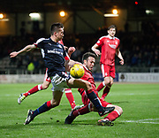 Aberdeen&rsquo;s Graeme Shinnie tackles Dundee&rsquo;s Cammy Kerr - Dundee v Aberdeen in the Ladbrokes Scottish Premiership at Dens Park, Dundee. Photo: David Young<br /> <br />  - &copy; David Young - www.davidyoungphoto.co.uk - email: davidyoungphoto@gmail.com