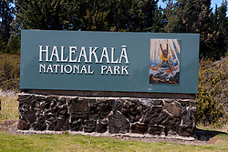 National Park Service entrance sign to Haleakala National Park, Maui, Hawaii, United States of America