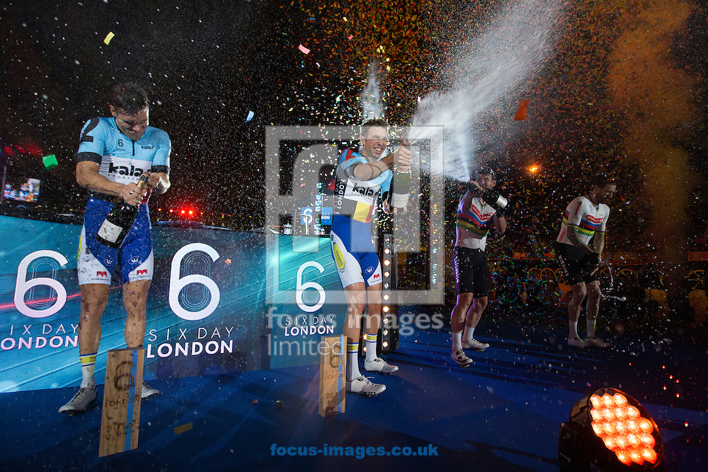 Kenny De Ketele (farleft) and Moreno De Pauw (middle left) celebrate victory with Mark Cavedish (middle right) and Sir Bradley wiggins (far right) on day six of the Six Day cycling series at Lee Valley VeloPark, London, UK<br /> Picture by Ryan Dinham/Focus Images Ltd +44 7900 436859<br /> 30/10/2016