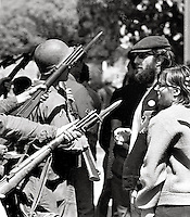 Students face riffles and bayonets when Governor Reagan sent US National guard in to battle protesters over Peoples Park at University of California in Berkeley 1969