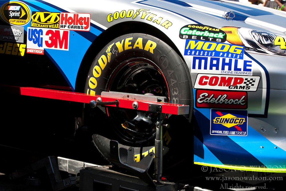 June 26, 2011; Sonoma, CA, USA;  The car of NASCAR Sprint Cup Series driver Jimmie Johnson (not pictured) is inspected in the garage area before the Toyota/Save Mart 350 at Infineon Raceway.