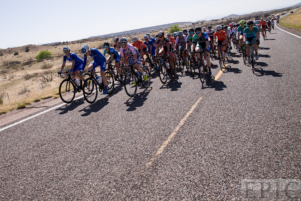 SILVERY CITY, NM - APRIL 18: The women spread out on the wide roads during stage 1 of the Tour of The Gila on April 18, 2018 in Silver City, New Mexico. (Photo by Jonathan Devich/Epicimages.us)