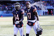 Chicago Bears wide receiver Deonte Thompson (14) and Chicago Bears wide receiver Alshon Jeffery (17) exhale steam on a cold weather day as they walk off the field at halftime of the Chicago Bears 2016 NFL week 15 regular season football game against the Green Bay Packers on Sunday, Dec. 18, 2016 in Chicago. The Packers won the game 30-27. (©Paul Anthony Spinelli)